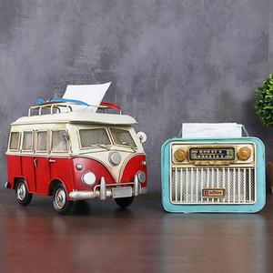 Nostalgische Kreative Metallauto Redio Tissue Box-Modell Miniatur-Dekoration Ornamente Zimmer Tissue Anzeige Pump Storage Box Geschenke