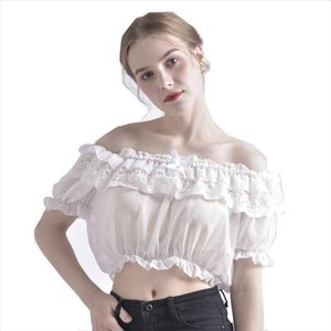 Women Crop Top Blouse Lolita Frilly Chiffon White Black Puff Sleeve Lace Bottoming Undershirt Drop Shipping Good Quality