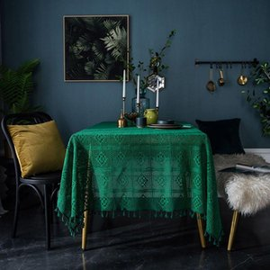 Retro American Tablecloth Dark Green Handmade Crochet Tablecloth Rectangular Coffee Table Dining Table Simple