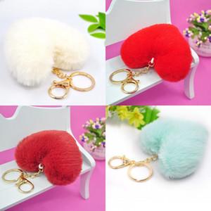 Love Heart Shaped Key Chain Student Adult Fashion Pure Color Bag Car Mobile Phone Plush Keys Ring Pendant 1 75jf J2