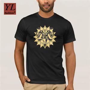 Anlarach Nova Cabeça de Cabra Satânica Com Chaos Estrela Inverted T Camisa Primavera Horror Morte Camiseta
