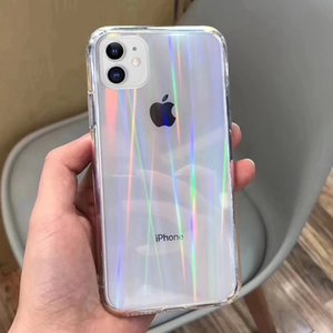 Gradient Rainbow Laser Cases For iPhone 11 Pro X XS Max XR Transparent Soft Fundas For iPhone 6S 7 8 Plus 12 Clear Acrylic Cover