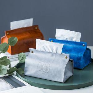 Creative PU Cuir Tissue Tissue de tissu Soft Pouvoir pliable Porte-serviette Imprimé Tissu Case Home Cuisine Porte-papier Boîte de rangement
