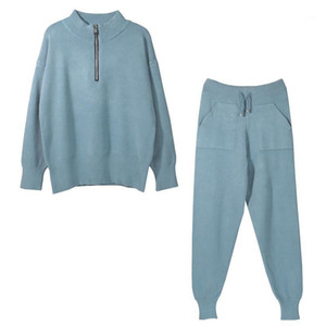 New Autumn Winter Pullovers Long Pants Knitwear Warm Tracksuit Suits Fashion Solid Slim Women Sets 2 Pieces Sweater1