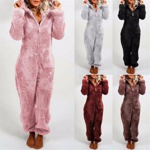 Flece Hoodie Pajamas Женщины Теплые плюшевые длинные рукава на молнии повседневные женские уха с капюшоном пижамы свободный сплошной комбинезон