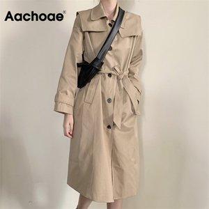 Aahoae повседневная траншея длинная ветровка женщины корейский однобортный пальто с поясом с твердым сплошным карманами с длинным рукавом Верхняя одежда 201016