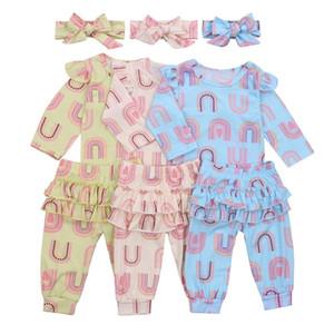 CATHYERY 3PCS Vêtements Ensemble Baby Girl Pantalon Romper Costume T-shirt à manches longues Chemise Hem Jupe Rainbow Imprimé Pantalon en vrac + bandeau