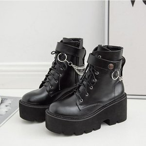 Metal Chains Chunky Platform Women's Boots Round Toe Boots Women Winter Black Punk Goth SWE0872