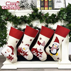 Christmas Socks Decoration Santa Claus Stockings Hanging Decor Candy Bag Gift for Kid Snowman Deer Pocket Hanging Xmas Ornaments