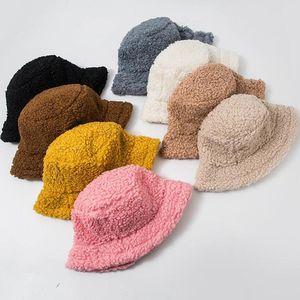 2021 FZ06 Fashion Bucket Hat Lamb Wool Hat Winter Warm Fishing Caps Faux Fur Solid Color Bucket Men Women Tide Flat Top Hats Outdoor Fashion