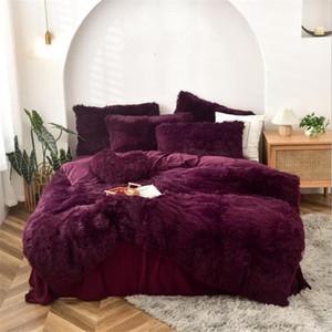 2021 Burgundy Fleece Fabric Winter Thick Solid Bedding Sets Mink Velvet Duvet Cover Bed sheet Bed Linen Pillowcases 22 Colors In Stock