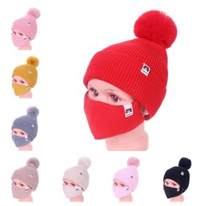 Baby Kids Winter Warm Beanies Ski Outdoor Girls Knitted Beanie Cap Hats with Face Mask 2 Piece Set Cycling Sport Slouchy Headwear E112306