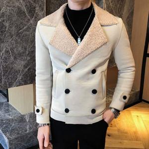 Мужчины Кожезаменитель куртка Мужчины 2021 осень-зима Тенденция моды норки Красный Желтый куртка искусственной кожи мужчин