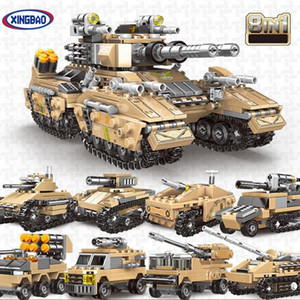 Mirage Tank 8 in 1 Building Block 1024pcs Assault Soldier Army Model Figures Bricks Children Gifts Toys with Original Box