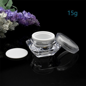15g ml Diamond Style Pot Acrylic Cosmetic Empty Jar Eyeshadow Makeup Face Cream Lip Balm Container Bottle Sample Packaging 234 J2