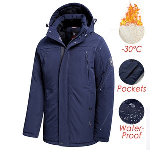 2021 New Winter New Long Casual Thick Fleece Hooded Waterproof Coat Men Outwear Fashion Pockets Parka Jacket 46-58 0ctx