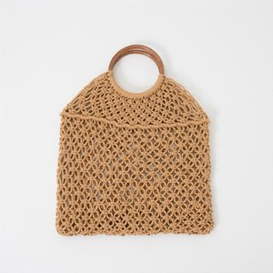 Popula Cotton Rope Hollow Straw Bag Sheer Macrame Tote wooden ring rattan handle Net Bag Vintage Chic handbag