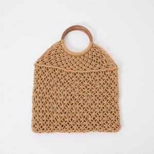 Popula Cuerda de algodón Hollow Straw Bag Sheer Macrame Tote Anillo de madera Mango de ratán Bolsa de red Vintage Chic Bolso