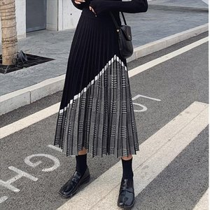 ZAWFL 2020 Winter Womens Fashion Houndstooth Midi Skirt Female High Waist Pleated Knitted Thick Black Warm Skirts