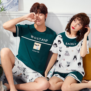 Cute Printing Summer Pyjamas Cotton Couple Pajamas Set Women Loungewear Lover Pyjama femme Men's Sleepwear Home Clothing