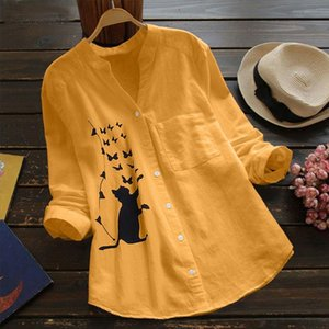 Cat Printed Blouse Women Cotton linen Long Sleeve Casual Shirt Blusa Button V Neck Womens Tops and Blouses Camisa Feminina