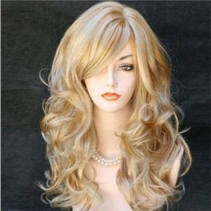 Brown Wigs Long Wavy 2 Tone Wig Blonde Curly Side Part Wigs for Women Long Curly Hair Synthetic Heat Resistant Hair 24inch