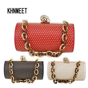Goldene Niet Zylinder Designer Schädel Luxus Schultertasche Kette Handtaschen Female Messenger Bag Q1117