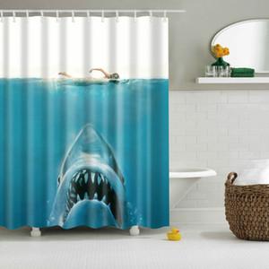 Animal Duck Shark Wolf Dinosaur Shower Curtains Polyester High Quality Washable Bath Decor Bath Screen With Hooks