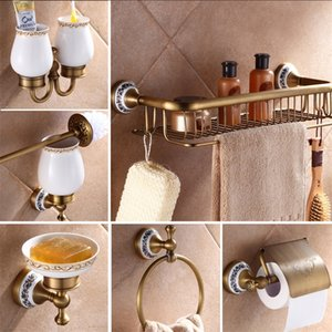 Antik Pirinç Lüks Banyo Aksesuar Kağıt Tutucu Tuvalet Fırçası Raf Emtia Sepeti Raf Sabunluk Towel Yüzük 201222
