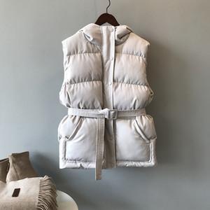 Hxjjp Mujeres de invierno Chaqueta de bolsillo Abrigo con capucha Cálido Casual Algodón Pecho acolchado Femenino Slim Sin mangas Cinturón de chaleco en stock Y1114