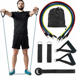 2020 Fitness Rubber Loop Tube Set Yoga Exercise Resistance Bands Gym Pilates Yoga Brick Workout Men Bands