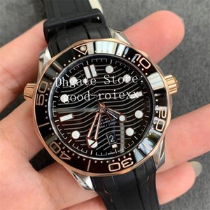 Luxury Men's Rose Gold Watches VS Factory Automatic Cal.8800 Axial Watch Men Professional Dive 300M Rubber Strap Planet Eta 007 Wristwatches