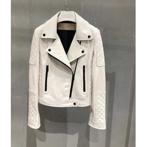 Cosmicchic 2020 Autumn Zipper Motorcycle Genuine Leather Jacket Women Slim Fit Sheepskin Casual Outwear Biker-Coat White Coat Y1110