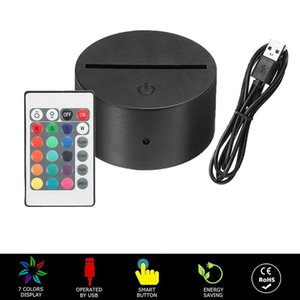 RGB 7 colors Lights LED Lamp Base for 3D Illusion Lamp 4mm Acrylic Light Panel Battery or DC 5V USB 3D nights lights