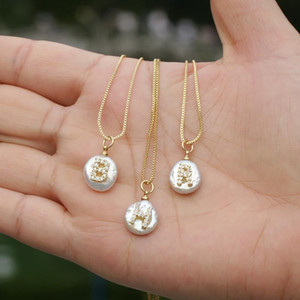 White CZ initial 26 alphabet letter natural coin freshwater pearl charm gold pendant thin chain unisex choker necklace for women