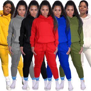 النساء الرياضة رياضية الصوف السترة مقنعين السراويل 2 قطعتين امرأة مجموعة الزي عارضة المرأة العرق الدعاوى sweatsuits الملابس الملابس