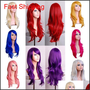 70cm Loose Wave Synthetic Wigs For Women Cosplay Wig Blonde Blue Red Pink Grey Purple Hair For Human Party For H qylTZV nana_shop