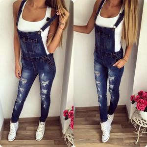New Casual Boyfriend Ripped Jeans Jumpsuit Romper Women Pants Hole Sleeveless Denim Overalls for Women 1321