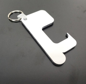 Sublimation Keychain Non-Touch Door Handle Keychain Wooden MDF DIY Blank Key Rings Safety Touchless Door Opener Party favor GGA3813-4