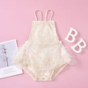 boutique children Clothes Summer Lace Baby Girls Princess Romper embroidery Tulle Tutu Infant Jumpsuit Newborn Bow Lace-up Onesie C6486