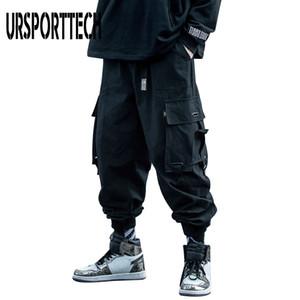 URSPORTTECH 2020 Black Cargo Pants Men Hip Hop Autumn Harem Pant Streetwear Harajuku Jogger Sweatpant Cotton Trousers Male Pants Y1112