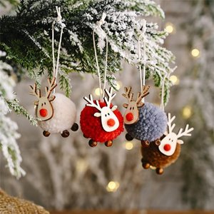 Decoration Felt Deer Christmas Tree Pendant Ornaments Mini Elk New Year Kids Gift Xmas Decor Home Party Decorations DHC2395