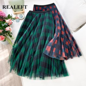 REALEFT Spring Summer Women Vintage Mesh Patchwork Long Skirts High Waist Plaid Harajuku Tulle A-Line Mid-Calf Skirts Ladies A1121