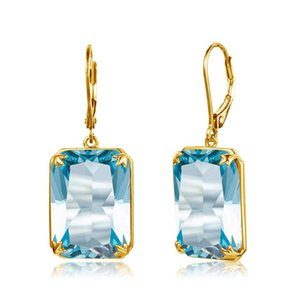100% Real Silver 925 Jewelry Pendientes Aquamarine 14k Oro para Mujeres Pendientes Azul Topaz Gemstone Rectangle Forma Viking Silver