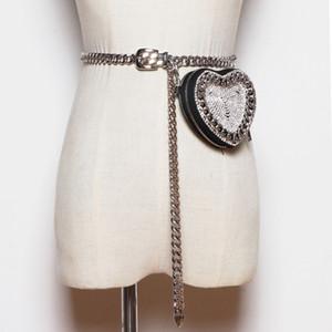 Daeyoten 2020 NUEVO Cadena de Forma de Corazón Ladies Cintura Ins Ins Que Mini Bolsa De Cinturón De Diamante Rhinestone Womens Fanny Pack Coin Purse ZM0925 Q1204