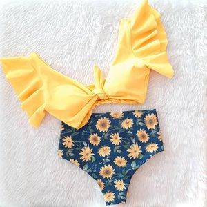 Two-Pieces Women Floral Push-up Padded Bra Ruffles Bandage Bikini Set Swimsuit Swimwear Bathing Suit Beachwear Biquini