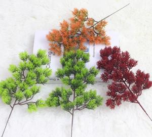 Pin de simulation Plantes artificielles Simple Branch Cypress Pine Rouge Vert Vert Plantes décoratives 33cm Fournitures de fête