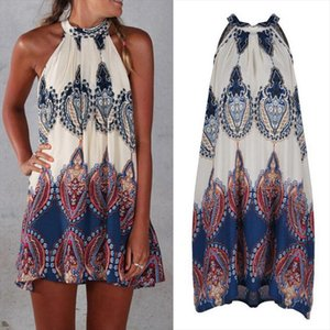 Sexy Sweet Causal Summer Dress Women Ladies Sleeveless Halter Straight Pattern Print Loose Mini Dress Size S M L XL