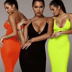 Women Sexy Deep V neck Sundress Sleeveless Strap Bodycon Dress Hollow Out Solid Clubwear Party Long Maxi Dress