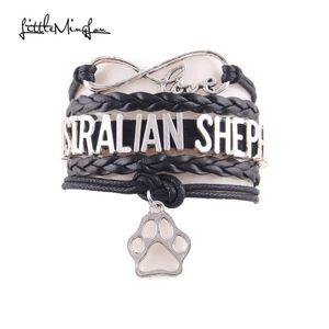 Little Minglou Infinity Love Australian Shepherd Pulsera Charm Charm Wrap Brazaletes Brazaletes para mujer Joyería
